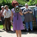 Artbattlens konferencier, skuespilleren Cecilia Zwick Nash.